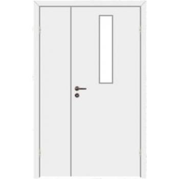 Дверь противопожарная звукоизоляционная EI30/30dB полуторная со стеклом 9%
